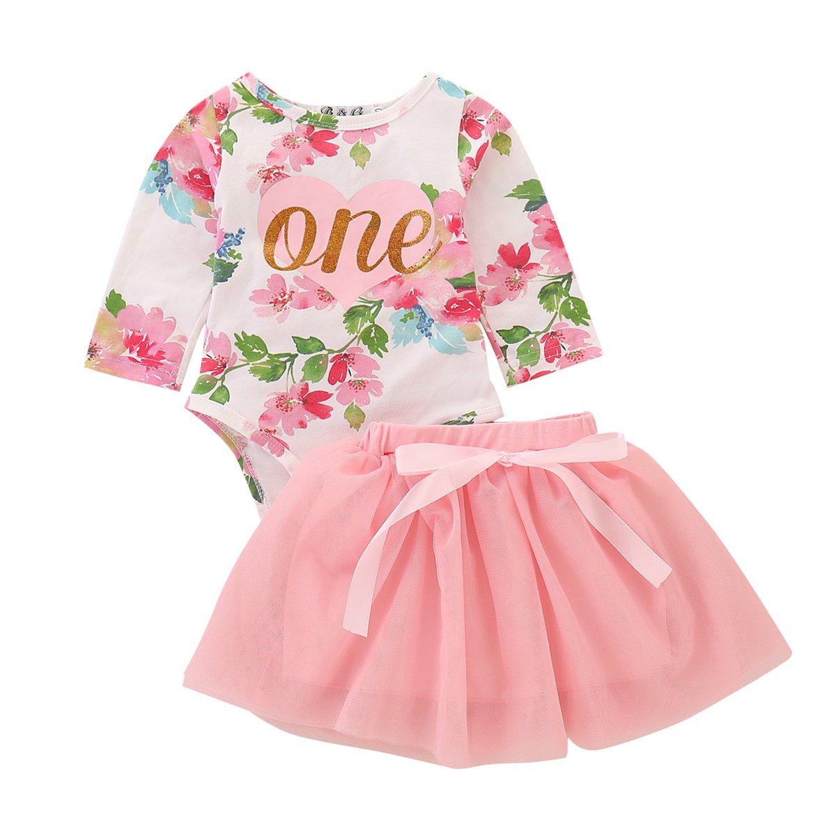 Newborn Baby Girls Clothes Floral Romper Top + Tutu Skirt Dresses 2Pcs Outfit Set (Long Sleeve, 90/12-18M)