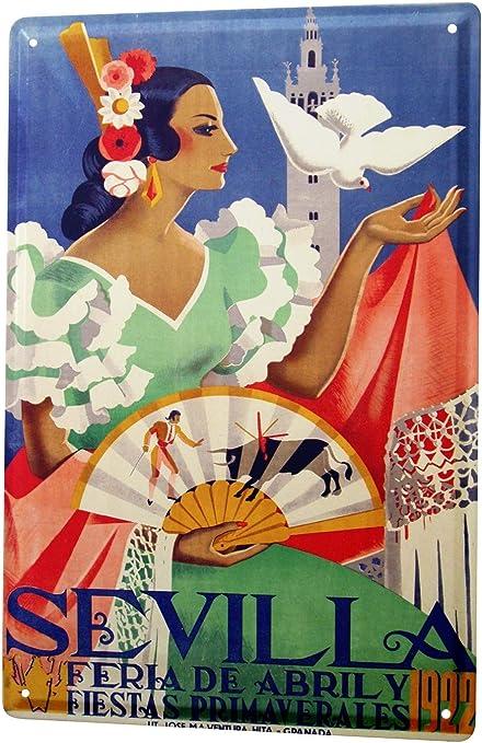 LEotiE SINCE 2004 Cartel Letrero de Chapa XXL Viaje Cocina España Sevilla Flamenco: Amazon.es: Hogar