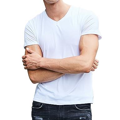 d0b0e85487d3e semen Homme T-Shirt Mode Manche Court Top Haut Blouse Tee Uni Simple  Confort Respirant