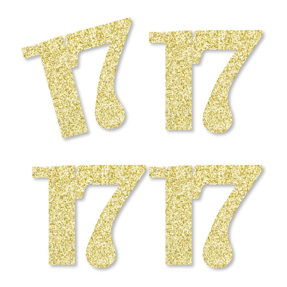 Gold Glitter 17 - No-Mess Real Gold Glitter Cut-Out Numbers - 17th Birthday Party Confetti - Set of 24