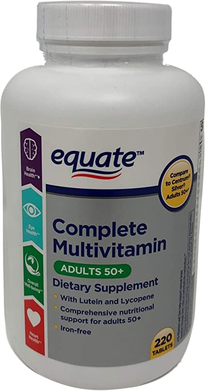 Amazon Com Equate Mature Adult 50 One Daily Complete Multivitamin Compare To Centrum Silver Adults 50 220 Count Health Personal Care