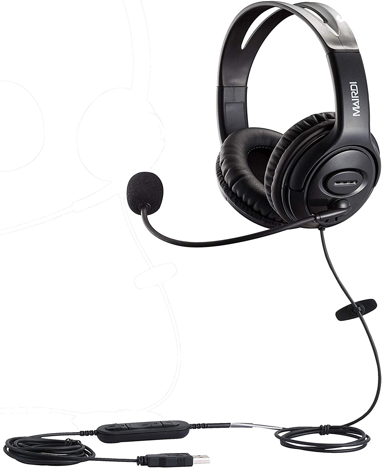 Video Conference Calls Headset with Microphone USB for PC Computer Zoom Skype Call Center Lightweight Headphones with mic Boom Laptop