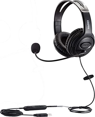Amazon Com Usb Headset With Microphone For Callcenter Skype Chat Computer Phone Headset Mic Noise Cancelling For Drangon Voice Recognition Speech Dictation Pc Headphone With Mic Mute Volume Control Home Audio Theater