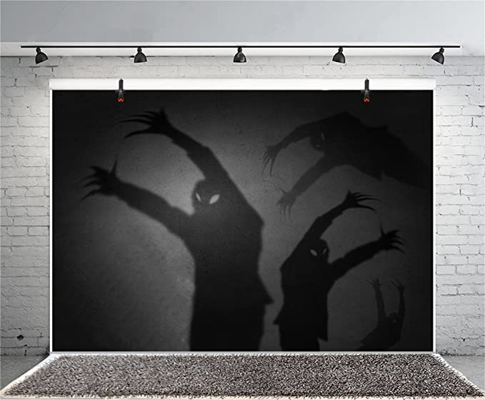 Halloween Theme Backdrop 10x6.5ft Polyester Photography Background Trick Or Treat Party Haunted House Ghastly Horrible Ghost Shadows Scene Zombie Party Poster Kids Baby Shoot Horror Night