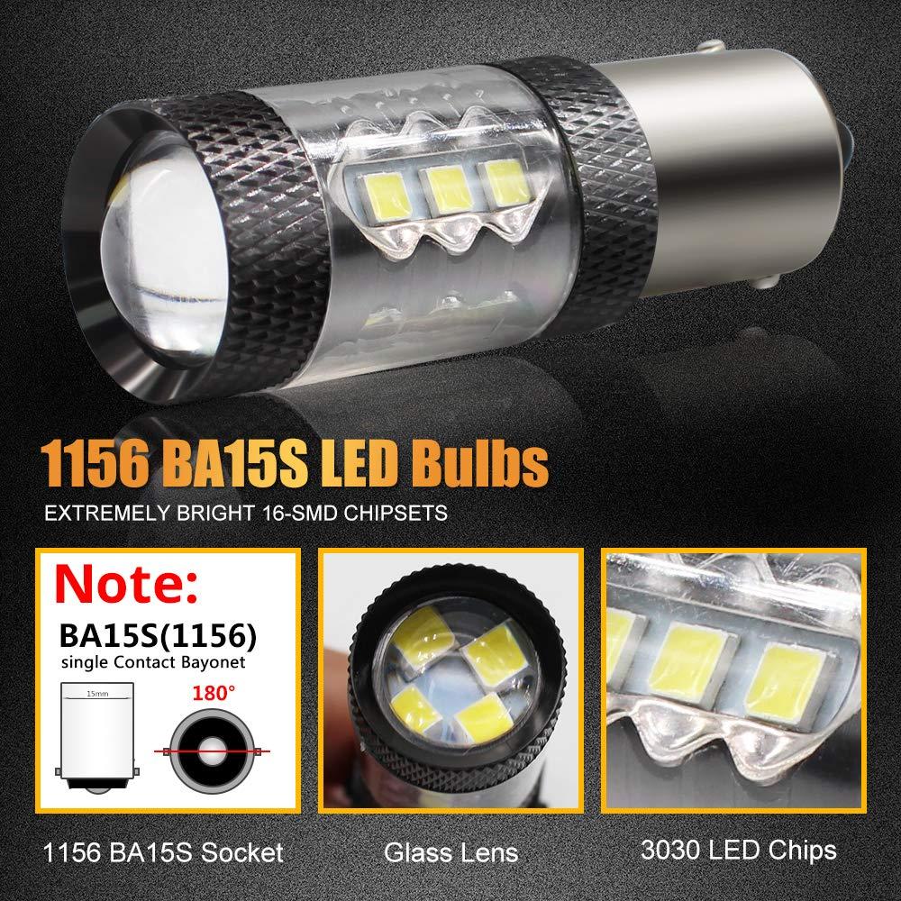 Boodlied 2pcs BA15S 1156 P21W LED Bulbs 9~32V 640Lumens Super Bright 3030 16-SMD Chipsets LED Lights For Car Turn Signal Tail Brake Light Backup Reverse Lights,White.