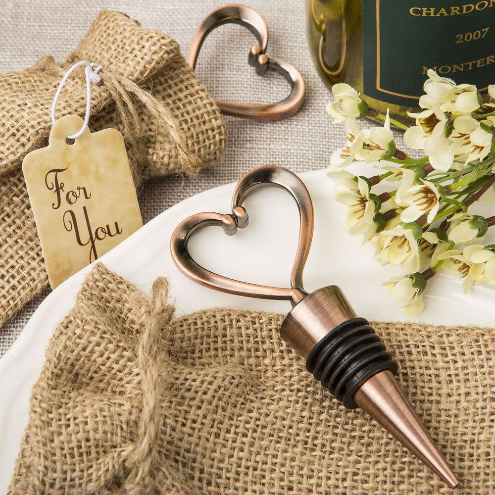 Heart shaped metal bottle stopper in a Copper plated finish in a burlap bag 72PK