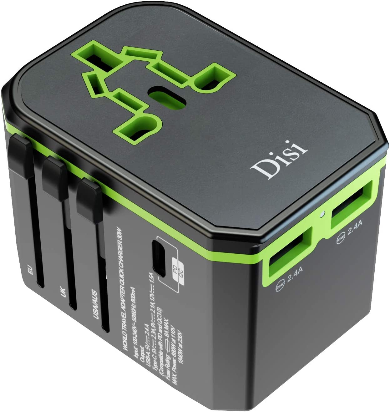Disi Universal Fast Charging Travel Adapter, Universal Smart 2 USB + 1 Type C Charging Ports, One International Power Adapter for US, EU, UK, AU, Over 200 Countries (Black/Green)
