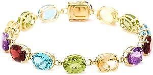 "14k Yellow Gold Plated Sterling Silver Oval Multi-Gemstone Bracelet, 7.5"""
