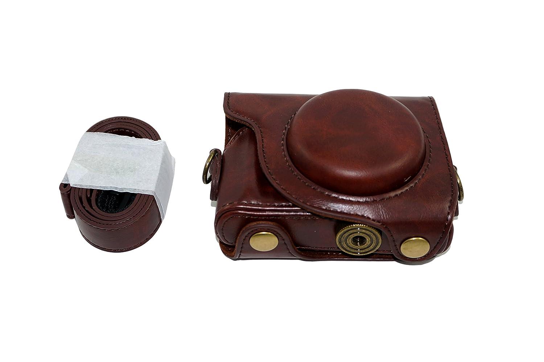 Etui de protection en cuir PU Housse pour Canon PowerShot G9X, G9 X Mark II Marque 2 avec ceinture de sangle d'é paule Marron G9 X Mark II Marque 2 avec ceinture de sangle d' épaule Marron SundayZaZa SLR-Kasten