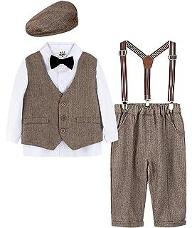 Gr/ö/ße:1-4 Jahre Wei/ß Shirt mit Fliege+Weste+Hose+Baskenm/ützen 4pcs Kleidung mintgreen Baby Junge Gentleman Anzug Set
