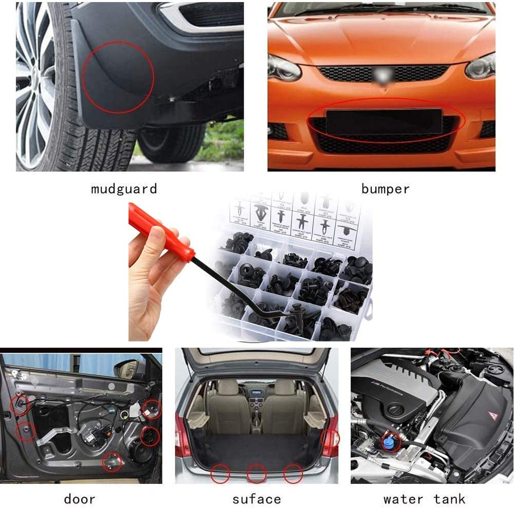 Bumper Push Retainer Bst4UDirect 446 PCS Universal Auto Black Nylon Clips Plastic Rivet Car Body Trim Clips Assortment with Fastener Remover Tools Cable Ties Car Retainer Kit