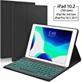 "New iPad 10.2 7th Generation 2019 Keyboard Case, Boriyuan 7 Colors Backlit Detachable Keyboard Slim Leather Folio Smart Cover for iPad 10.2 Inch/iPad Air 3 10.5""(3rd Gen)/iPad Pro 10.5 inch - Black"