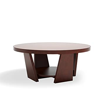 Furniture Of America 31 Inch Zoe Round Coffee Table, Large, Vintage Walnut