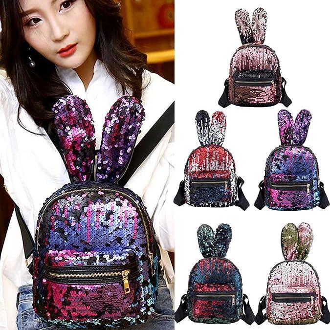 MaiYi Lovely Rabbit Ears Shaped Sequins Backpack Glittering Fashion Shoulders Bag for Women Girls