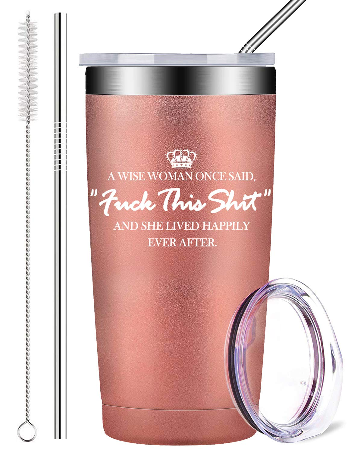 A Wise Woman Once Said, Stainless Steel Wine Tumbler with Lid and Straws Insulated Travel Tumbler Coffee Cup Funny Birthday Gifts for Women Friends (20 oz, Rose Gold) by AMIGOO