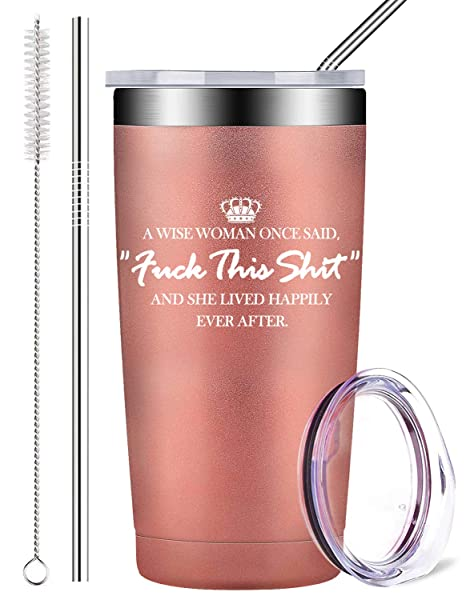 Amazon.com: Vaso de acero inoxidable con tapa y pajita, taza ...