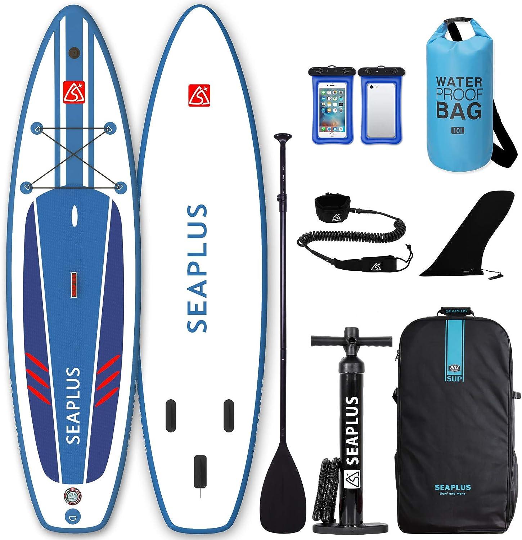 "SEAPLUS Tabla de Paddle Surf Hinchable Tabla Stand Up Paddle Board Rígida con Accesorios de Remo de Aluminio/Inflador/Leash/Mochila, Carga hasta 130 Kg, L-BN 10'8""*32""*6"""