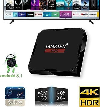 TV Box,LAMZIEN Android 8.1,decodificador Multimedia Smart TV Box,S905W Quad Core (1GB + 8GB) 4K/HD/3D/Bluetooth 4.0 Reproductor Multimedia con 2.4GHz WiFi,LX6mini: Amazon.es: Electrónica