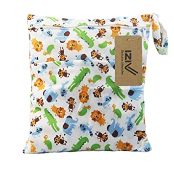 iZiv Baby Waterproof Reusable Wet and Dry Baby Diaper Bag Organizer Pouch Double Zipper Printing Diaper Bag Animals