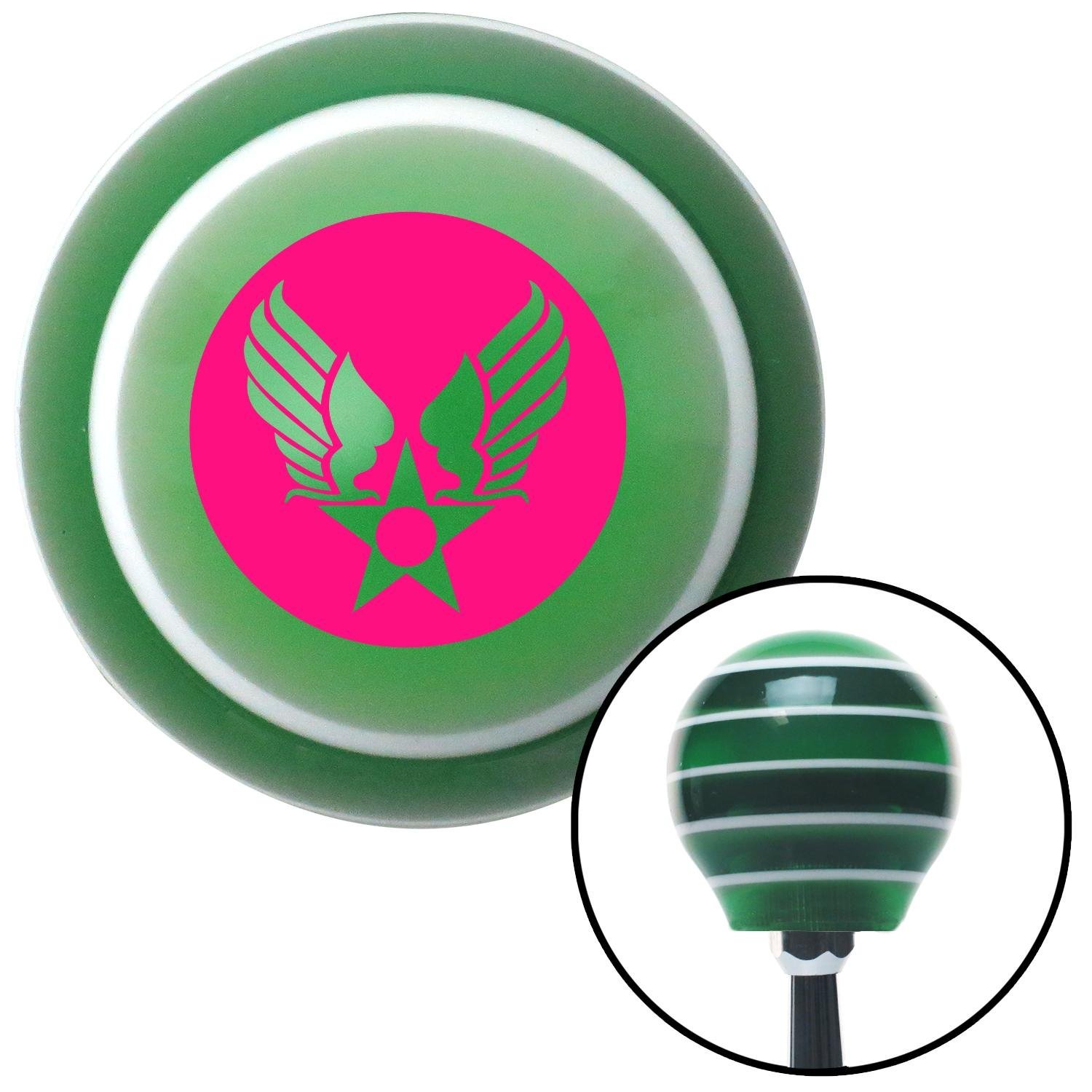 American Shifter 124515 Green Stripe Shift Knob with M16 x 1.5 Insert Pink Army Air Corps