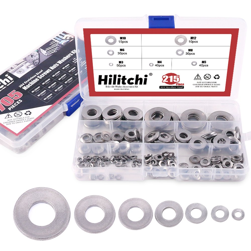 Hilitchi 215-Pcs [M3 - M12] Metric 304 Stainless Steel Belleville Spring Washer Assortment Set