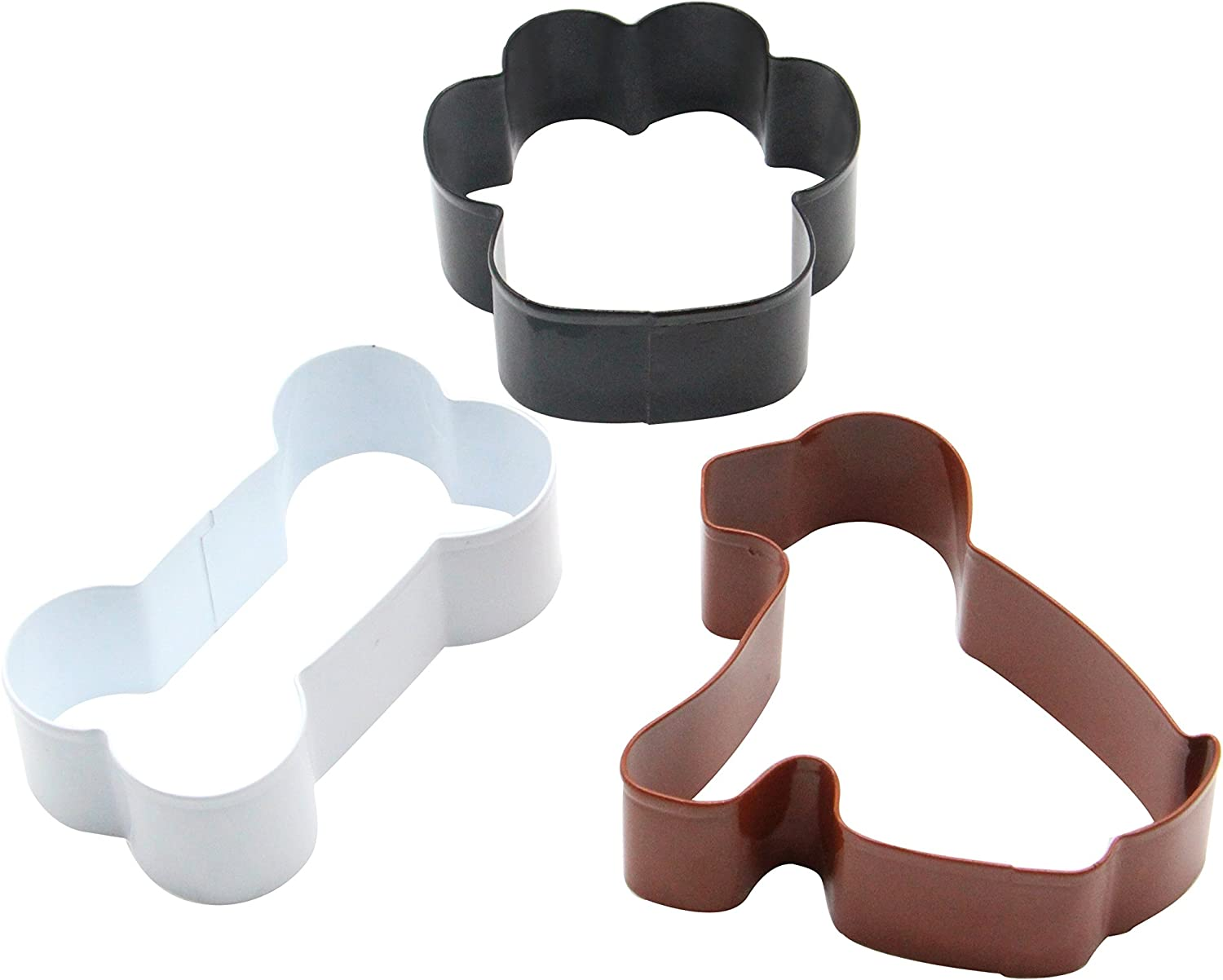 ShengHai Dog Cookie Cutter Set - 3 Piece - Dog, Paw Print and Dog Bone Stainless Steel Cookie Cutters