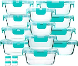 12-Piece Green Glass Food Storage Containers with Upgraded Snap Locking Lids,Glass Meal Prep Containers Set - Airtight Lunch Containers, Microwave, Oven, Freezer and Dishwasher