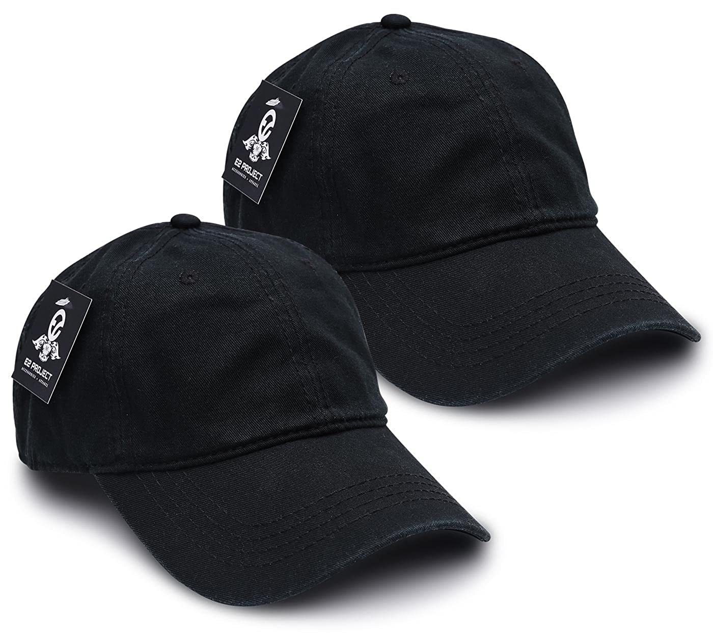 64f2f1ff E2 Project 2 Pack Low Crown Unconstructed Basic Washed Twill Baseball Cap  for Men or Women (Black) at Amazon Men's Clothing store: