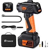 $39 » Breezz Cordless Tire Inflator, Portable Air Compressor with Digital Pressure Gauge Air…