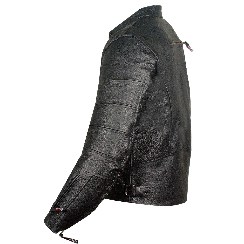 Mens Raider Ventilated Motorcycle Leather Street Cruiser Armor Biker Jacket L