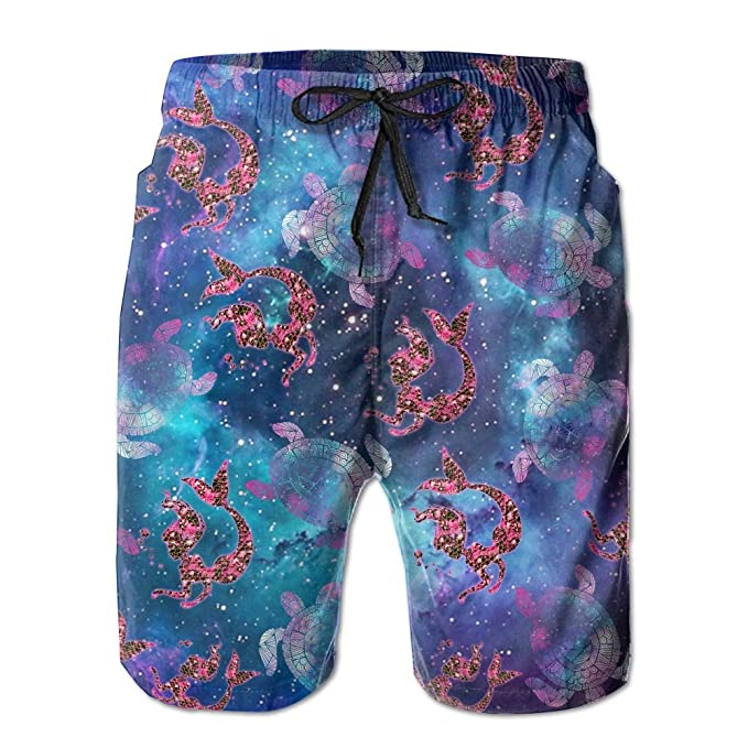 5081b98778 Image Unavailable. Image not available for. Color: AHFEB OVASVQQ Men's  Galaxy Turtle Glitter Mermaid Scale Lover Tropical Quick Dry Board Shorts  Bathing ...