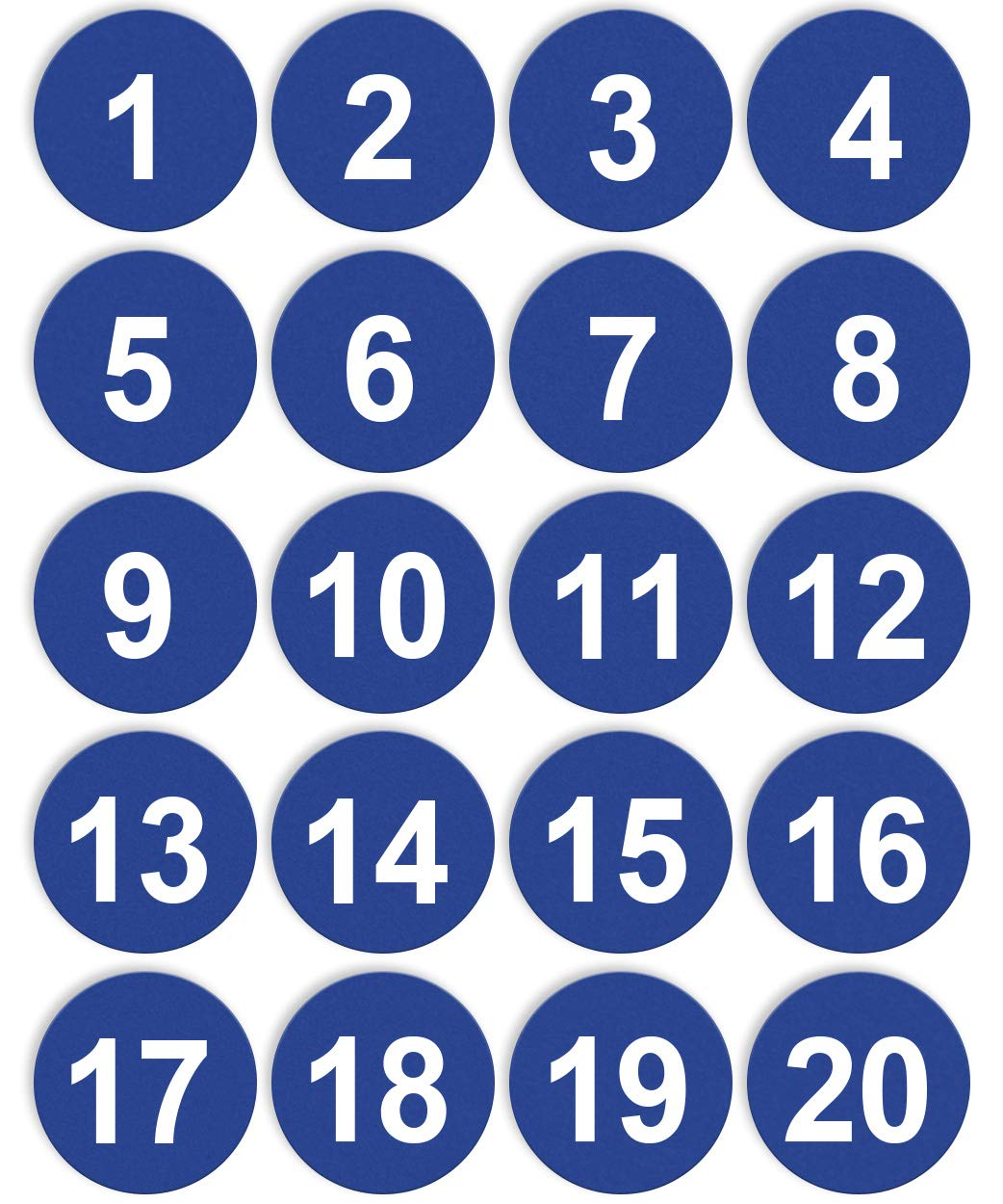 Amazon com dealzepic number stickers 2 inch blue 1 to 20 round self adhesive stickers 2 removable numbered labels office products
