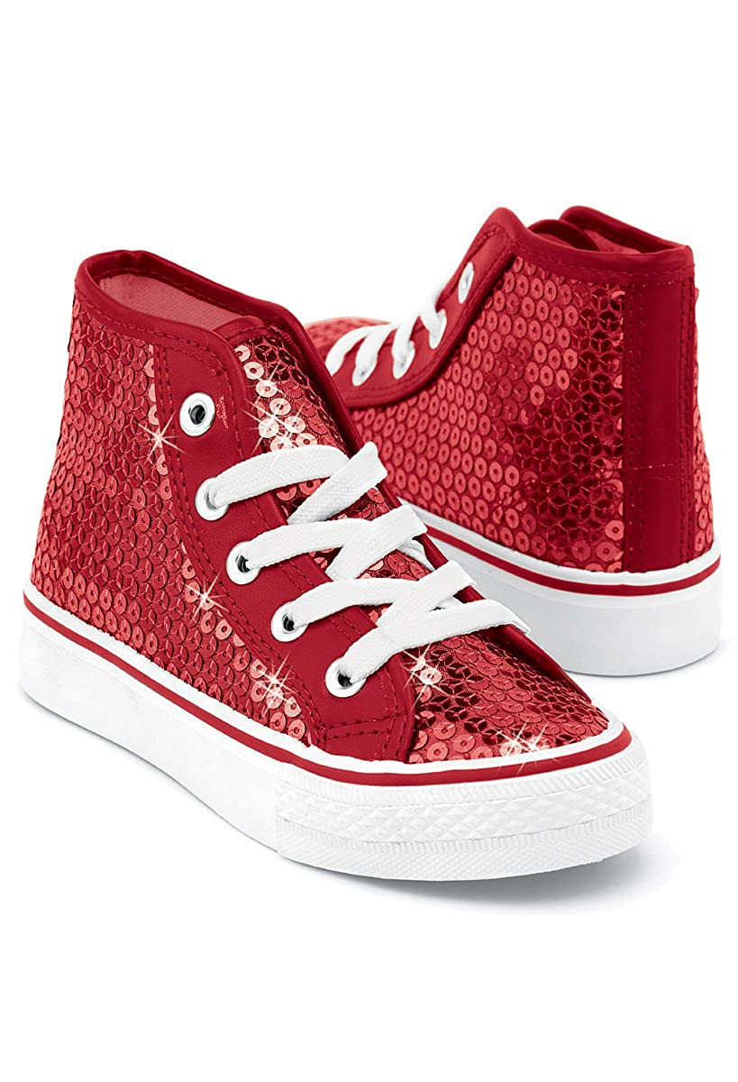 0619bcd5fc98f Balera Sequin High Top Dance Sneakers Red 11AM