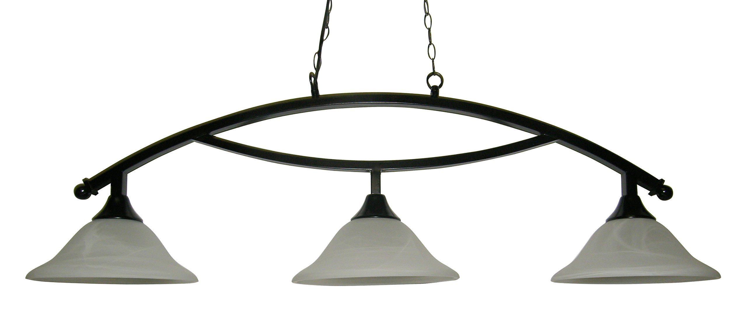 50'' Black Metal Arch Style Pool Table Light - Lamp With White Glass Shades