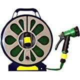 50 ft Flat Hose and Spray Nozzle with Reel Easy Wind Reel 7 Settings