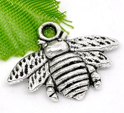 10pcs Honeybee Beads Tibetan Silver Charms Pendant DIY Bracelet 15*21mm