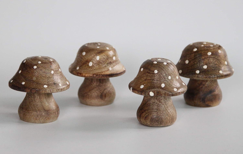 IGB - Juego de 4 Setas de Madera para decoración de Mesa: Amazon.es: Hogar