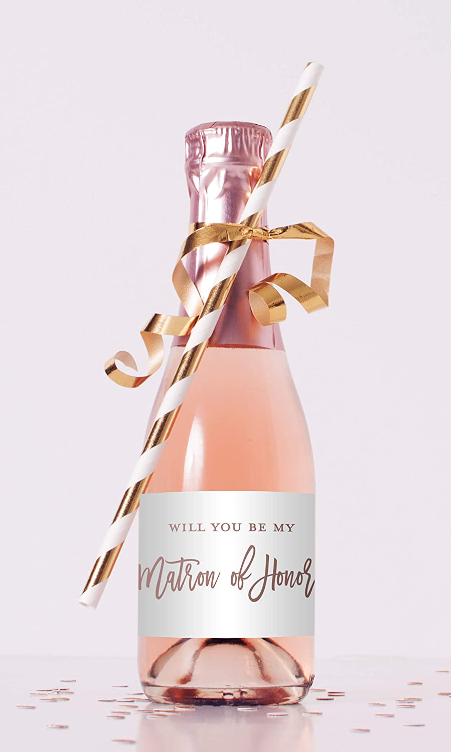 6 Scratch-off Pop Fizz Clink Will You Be My Bridesmaid  Maid of Honor Write-in Invitations  Pink Champagne and Gold Foil  Set of 6