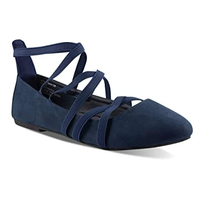 fca46e21558 Twisted Womens Faux Suede Strappy Fashion Flats SARA 129-NAVY Size 6