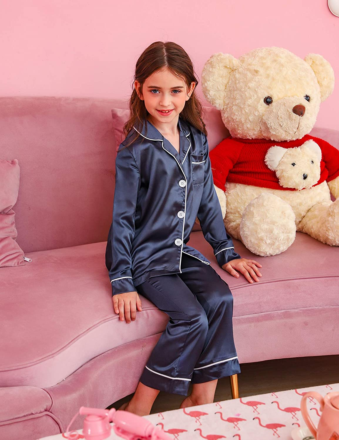 Hawiton Girls Satin Silk Pjs Pyjamas Set Long Sleeve Kids Sleepwear Nightwear Outfit