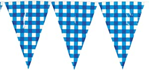 LG BLUE GINGHAM PENNANT BANNER - Party Decor - 1 Piece