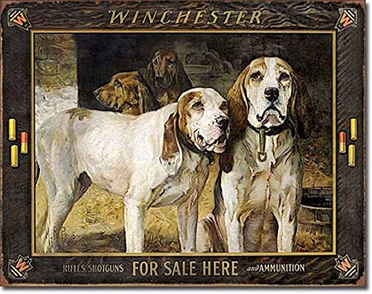 Remington Bullet Board Metal Tin Sign Ammo Gun Hunting Dogs Bar Cave Decor Gift