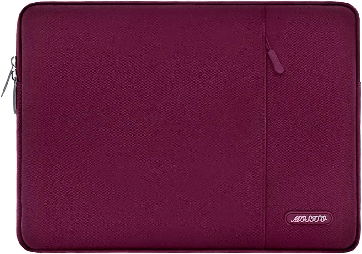 MOSISO Laptop Sleeve Bag Compatible with 13-13.3 inch MacBook Pro, MacBook Air, Notebook Computer, Water Repellent Polyester Vertical Protective Case Cover with Pocket, Wine Red
