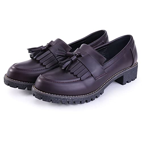 737d4211eb9 JUDY Women s Leather Penny Loafer Comfort Casual Slip On Dress Shoes (US  9-EU