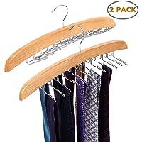 Ohuhu Wooden Tie Hanger Rotating Twirl 24 Ties Organizer Rack Hanger Holder Hook, 2 - Pack