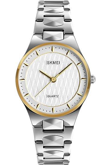 Reloj de pulsera de cuarzo para mujer, moderno, dorado, para negocios, elegante vestido: Amazon.es: Relojes