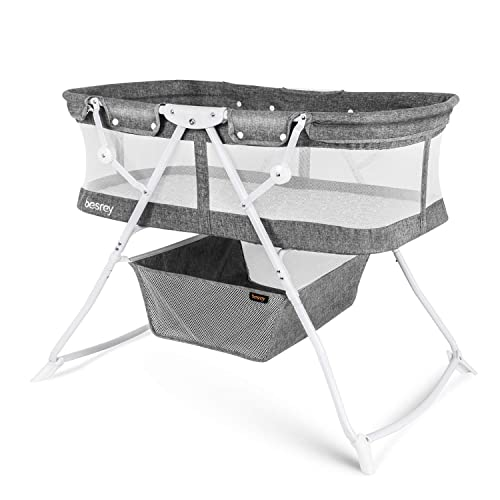 besrey Baby Bassinet 2 in 1 Lightweight Portable Baby Bed with Breathable Net Harmless Mattress Quick Foldable Design for up 33 lbs 5 Months Infant, Baby Gray