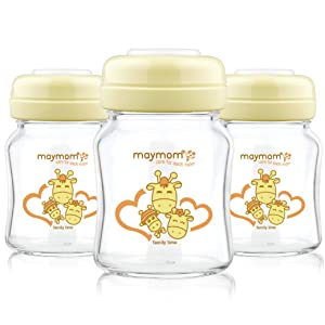 Maymom Glass Bottle with Screw Ring Sealing Disk; No Nipple & Dome Cap Included; Compatible with Avent Natural Collar and Nipple; Milk Glass Storage Bottle; Baby Food Glass Storage Containers; 3ct