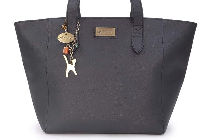 1487a48960a3 Catwalk Collection Handbags - Women's Large Saffiano Leather Tote/Shopper  Shoulder Bag - Paloma - Black: Amazon.co.uk: Shoes & Bags