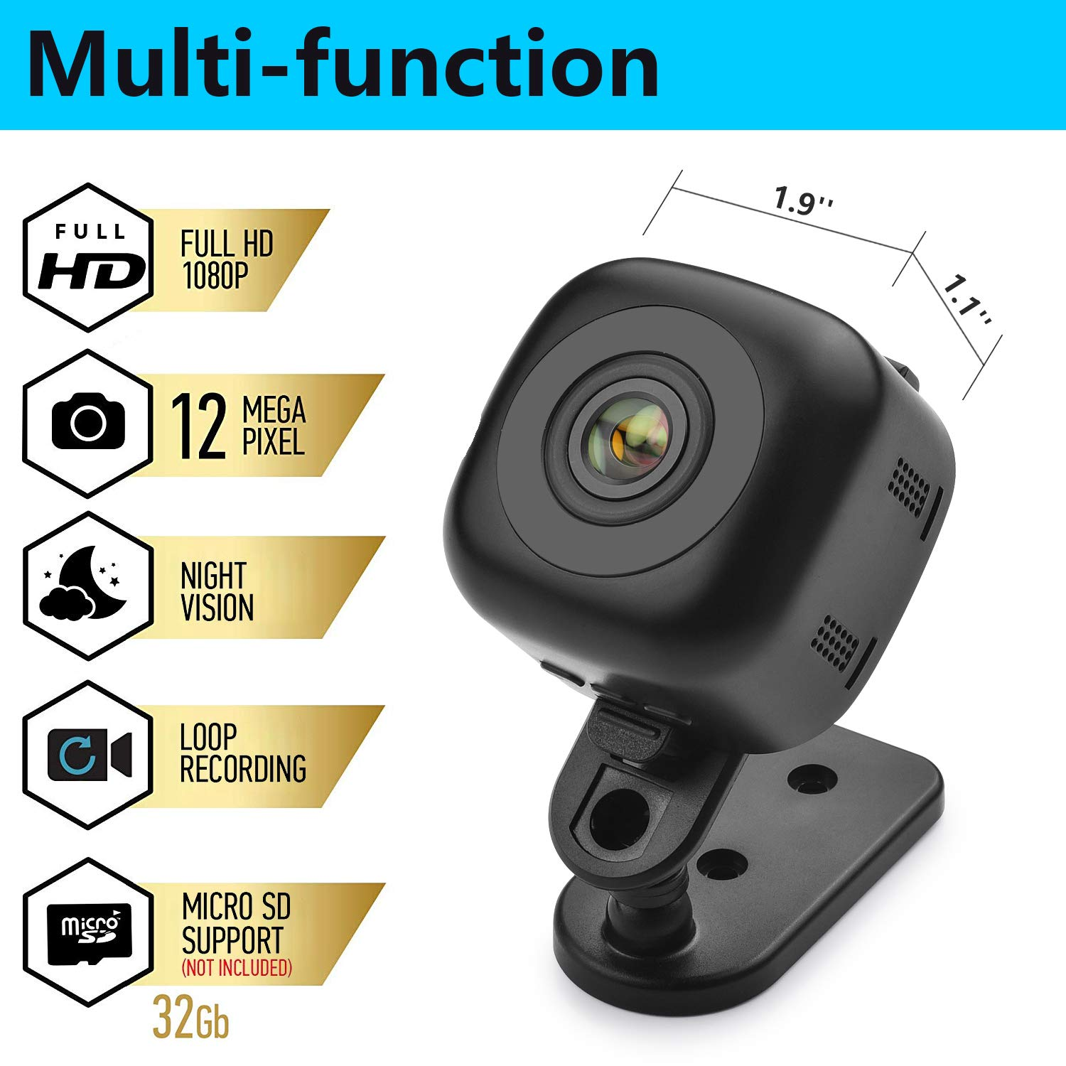 Mini Spy Hidden Camera, OUMEIOU 1080P Portable HD Spy Camera Nanny Camera Cop Cam Car Camera with Night Vision,Perfect Indoor Covert Security Camera for Home,Car,Drone and Office